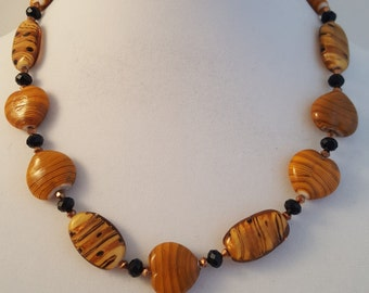 Caramel Necklace - Caramel Bracelet - Caramel Jewelry - Tan Necklace - Tan Bracelet - Heart Necklace - Heart Bracelet - Heart Jewelry Set