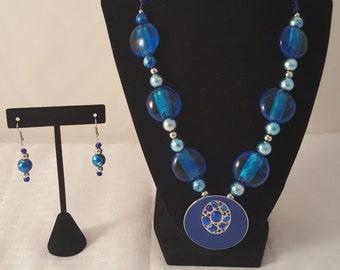Blue Pendant Necklace - Blue Necklace - Blue Earrings - Blue Jewelry Set - Blue Glass Necklace - Blue Jewelry - Women's Blue Jewelry Set