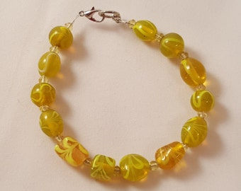 Yellow Glass Bead Bracelet - Yellow Bracelet - Single Strand Bracelet - Glass Bead Bracelet - Yellow Jewelry - Women's Yellow Bracelet