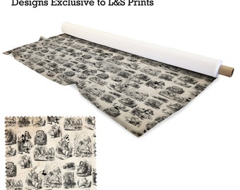 Alice In Wonderland Design Fabric 2 way stretch Lycra  / Spandex / Satin / Chiffon / Jersey / Voile / Waterproof / Microfibre / Twill