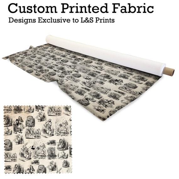 alice in wonderland design fabric 2 way stretch lycra. Black Bedroom Furniture Sets. Home Design Ideas