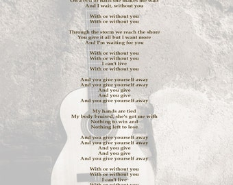 Song Lyric Art Work Print Personalised For Him Christmas / First Dance / Dad / Husband / Brother / Boyfriend - Any Song! Guitar