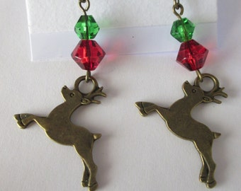 Rudolph The Reindeer Christmas Holiday Earrings Antique style