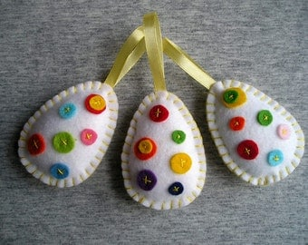 Felt ornament easter decoration eggs hanging Felt ornaments, Set of 3