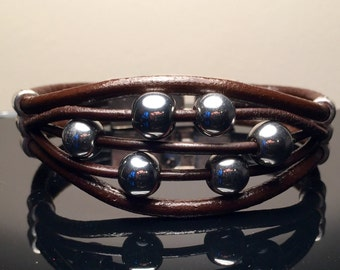 Leather & Semi-precious Beaded Bracelet