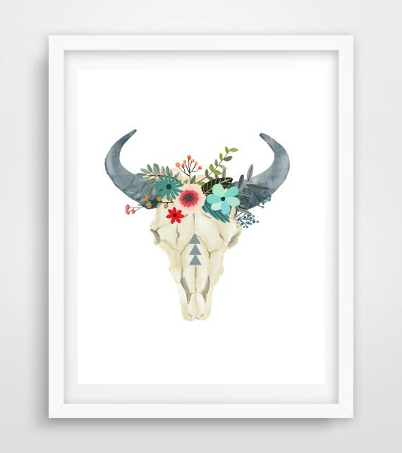 Wall Art Prints Download : Bull skull printable art cow tribal by