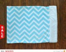 Sale -  Blue/White chevron pillow, Minky pillow.