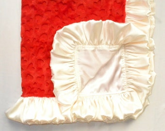 ON SALE - Satin Collection Red Hearts/Ivory, Baby/Toddlers Minky blankets, Handmade.