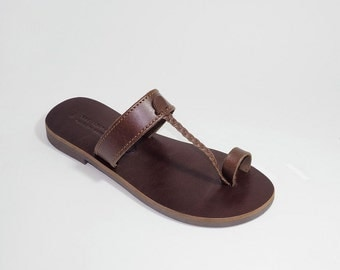 Greek Leather Sandals (36, 37 - Brown)