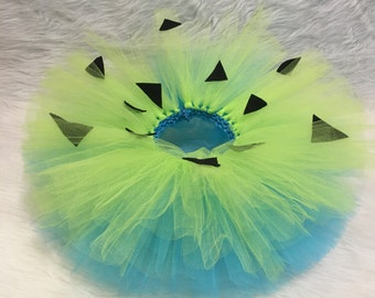 Handmade baby girl pebbles inspired tutu blue green Halloween costume