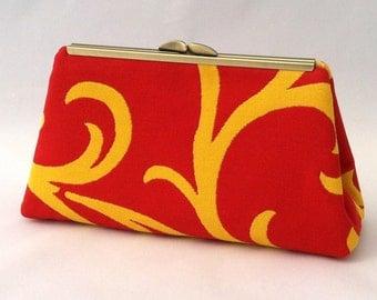 Red Scalamandre Handbag Clutch Purse ~ Red Clutch Purse