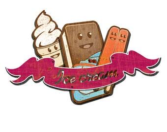 3-D Vintage Ice Cream Metal Sign