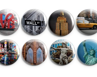 """8 New York City buttons - Set of Eight 1.25"""" Pinback Buttons, Magnets, or Flair, stocking stuffers, Empire State Building, Statue of Liberty"""