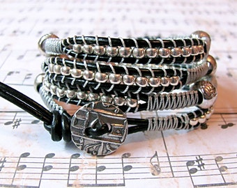 Black and Silver Leather wrap bracelet