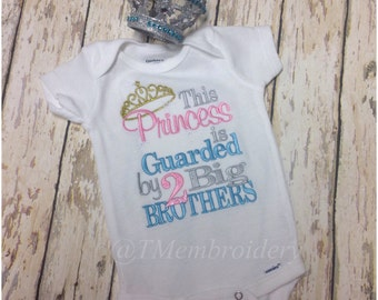 This Little a Princess is Guarded by 2 Big Brothers Shirt or Oneies