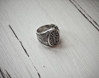 Signet men ring with Silver Cross