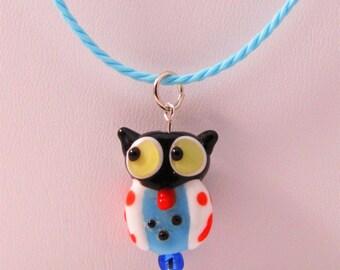 White Owl Lampwork Glass Pendant