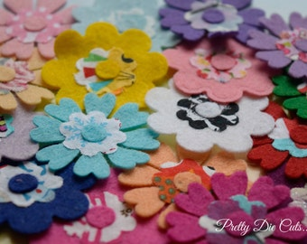 Felt and Fabric Flowers, Multicoloured Layered Flower Packs, Felt Shapes, Pretty Die Cuts Floral Craft Embellishments