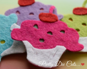 Felt Cupcakes, Layered Cup Cakes, Felt Cakes Shapes, Felt Food, Decorative Cakes, Die Cut Cakes, Die Cut Food, Die Cut CraftEmbellishments
