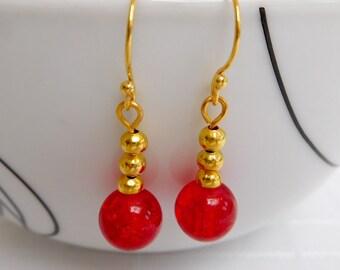 Red & Gold Bead Drop Earrings, Red Earrings, Gold Earrings, Dangle Earrings, Gift For Her