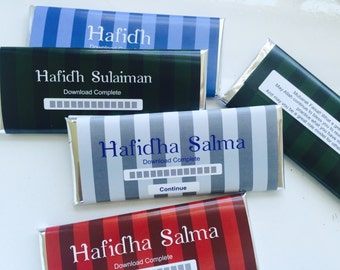 Hafiz gift, Quran favors, Hafiza, hafidh, hafidha, ameen, personalized candy bar wrappers, bismillah, Muslim gifts, islamic gifts, 24 ct.