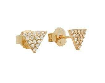 Triangle stud earrings. Pave triangle stud earrings. CZ triangle stud earrings. Triangle silver stud earring. Triangle earrings.