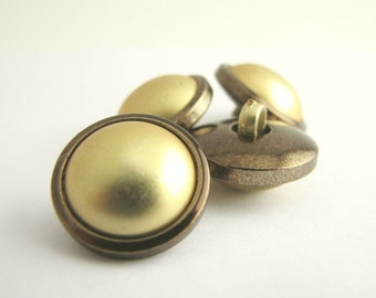 4 Yellow Shank buttons, Beautiful yellow and brown buttons for blouses, never used!