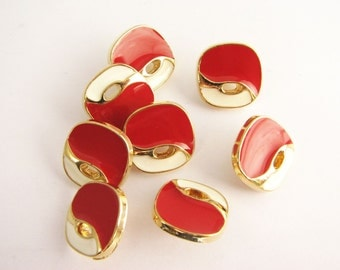 "Red white and golden buttons, 8 small Vintage shank buttons, 16 mm - 5/8"", new!!"