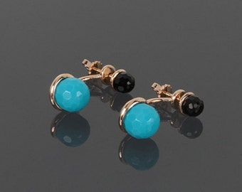 Turquoise earrings, Onyx earrings, Unique earrings, Gemstone earrings, Blue stone earrings, Black stone earrings, Everyday earrings