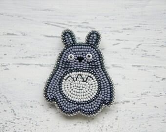 Totoro Brooch Grey Brooch Embroidered Brooch 'My Neighbor Totoro'