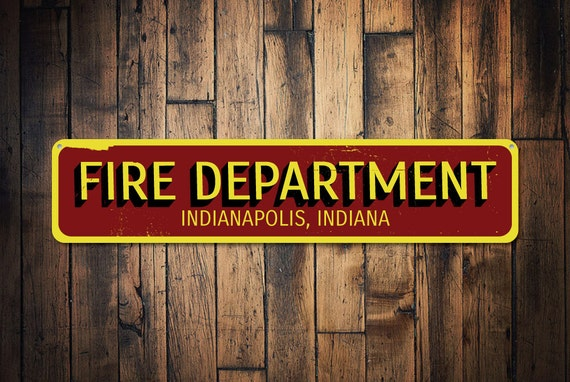 Firefighter Man Cave Signs : Fire department city state sign personalized firehouse decor
