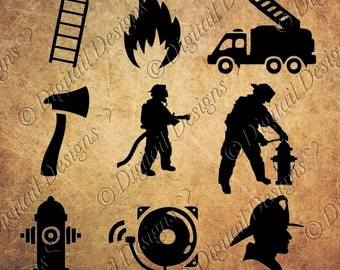 Firefighter Silhouettes Clipart Images svg, png, dxf, eps, fcm, ai Cut File. Firefighter cut files firefighter clipart images