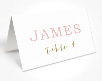 Coral Pink and Gold Wedding Place Cards, Modern Fonts, Free Colour Changes, DEPOSIT | Peach Perfect Australia