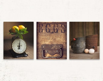 Kitchen Scale Print Set, SET of THREE Prints or Canvases, Farmhouse Wall Art Set, Rustic Canvas Art, Rustic Farmhouse Decor, Kitchen Art Set