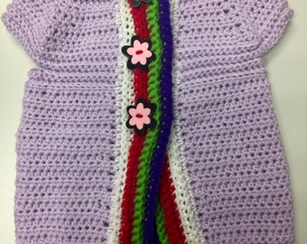 Purple baby girl cardigan