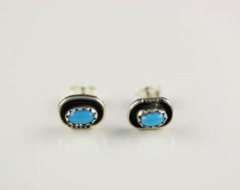 Native American Indian Jewelry Handmade Sterling Silver Turquoise Post Earrings