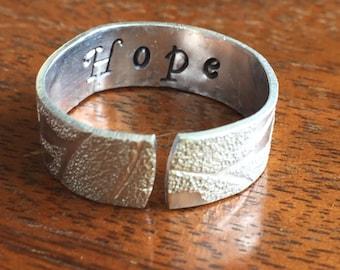 "Hope - 1/4"" Single Wrap Lace Texture Artisan Handmade Custom Jewelry Sizes 3-14 Copper Brass Silver Aluminum"