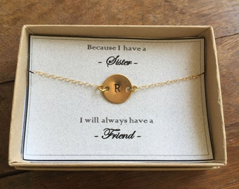 "Because I have a sister I will always have a friend | Gift Card Statement Necklace Layering Personalized Jewelry Hand Stamped 14-24"" Lengths"