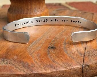 "Proverbs 31:25 elle est forte - Inside Secret Message Hand Stamped Cuff Stacking Bracelet Personalized 1/4"" Adjustable Hand Hammered Texture"