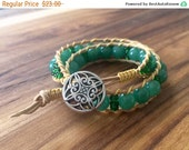 Boho Leather Wrap Bracelet, Green Aventurine Double Wrap Bracelet