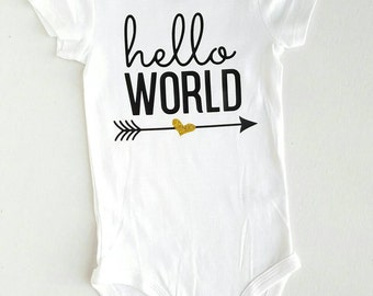 Hello World Onesie / Take Home Outfit / Coming home outfit / Baby Shower Gift /  Take Home newborn outfit / Baby Shower  / Hello world