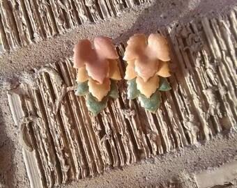 Vintage fall enamel leaf earrings