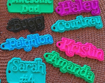 Personalized Keychains 3D Printed Zipper Pulls