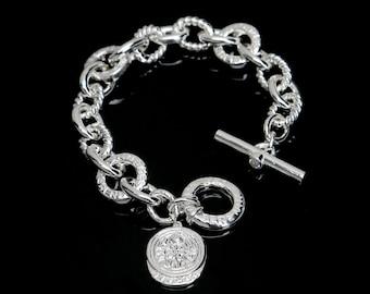 Solid Sterling Silver Bracelet/Large Silver Link Bracelet/CZ's/Serenity Circles/Toggle Closure/Lakshmi Charm.