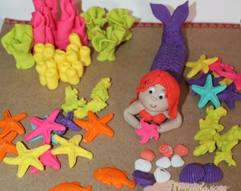 Edible Mermaid Under the Sea Theme Fondant Cake Cupcake Topper Set