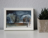 Original watercolor on laid paper, night in the woods, scene 12 x 17 cm, framed, COUPON 15% off code: WELCOMELANDSCHOP15
