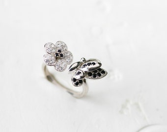 Cherry Blossoms Ring 925 Sterling Silver Dainty Flower Jewelry Adjustable Ring