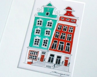 Amsterdam canal houses, original illustration, architectural drawing, original drawing, Amsterdam, Holland