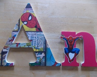 Personalized Wooden Letters, Spiderman Letters, Superhero Letters, Birthday Gift, Baby Shower Gift, Nursery Letters, Boy's Bedroom