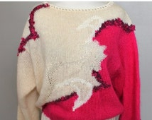 SALE Vintage 80s New Wave Hot Pink Cream Fuzzy Mohair Blend Sweater